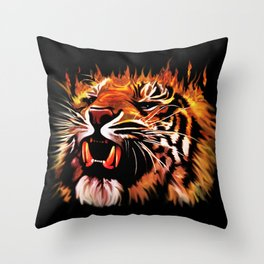 Fire Power Tiger 2 Throw Pillow