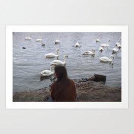 WOMEN AND SWANS Art Print