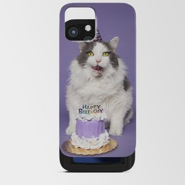 Happy Birthday Fat Cat In Party Hat With Cake iPhone Card Case
