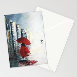 City in the rain Stationery Cards