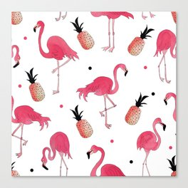 Flamingo and Pineapple Tropical Pattern Canvas Print