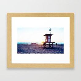 Lifeguard Tower at Sunset Framed Art Print