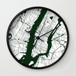 New York City White on Green Street Map Wall Clock