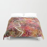 rome Duvet Covers featuring Rome by MapMapMaps.Watercolors