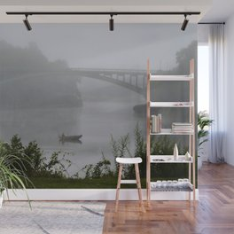Foggy Fishing Day on the Delaware River Wall Mural