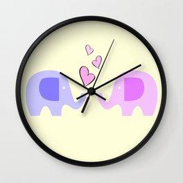 Elephants In Love Wall Clock