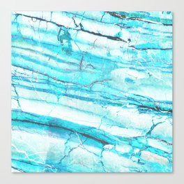 White Marble with Blue Green Veins Canvas Print