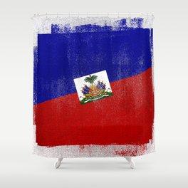 Haitian Distressed Halftone Denim Flag Shower Curtain
