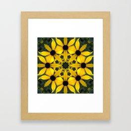 Black-eyed susan kaleidoscope, mandala Framed Art Print