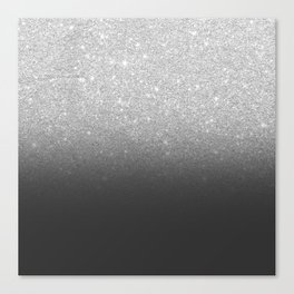 Modern faux silver glitter ombre grey black color block Canvas Print