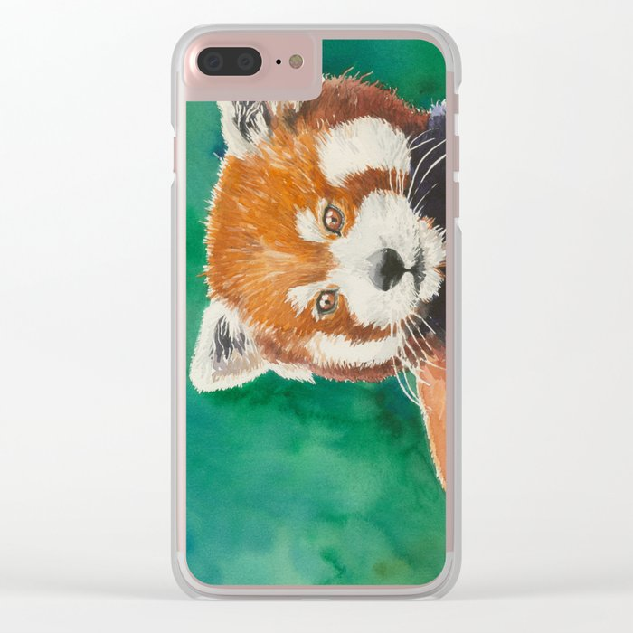 Red panda watercolor portrait Clear iPhone Case