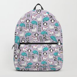 Llama, Unicorn, Narwhal, Panda, Penguin, Hippo, Tween Art, Purple Print, Cute Animal Illustration Backpack