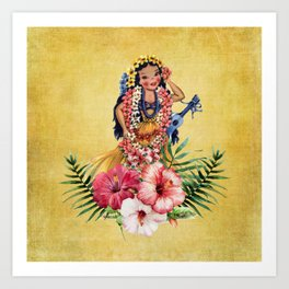 Hula Doll With Ukelele and Big Pink Flowers Art Print