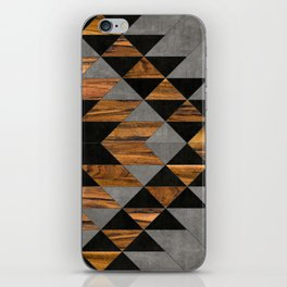 Urban Tribal Pattern 10 - Aztec - Concrete and Wood iPhone Skin