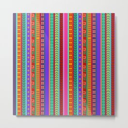 Ethnic Peruvian Motif Striped Pattern Metal Print