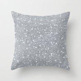 Silver Faux Elegant Glitter Sparkle Throw Pillow