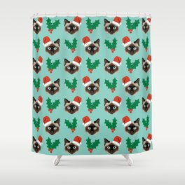 Siamese Cat cute christmas gift santa hat pattern mistletoe and holly wreath cats cute kitten gift  Shower Curtain