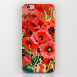 Red Poppies red floral pattersn texture poppy flower design iPhone Skin
