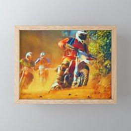 Motor Bike Sport Race Painting Framed Mini Art Print
