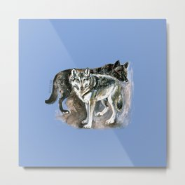 Canadian Wolves in blue Metal Print