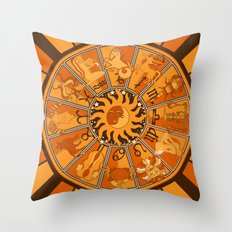 Harley and J Zodiac Orange Throw Pillow