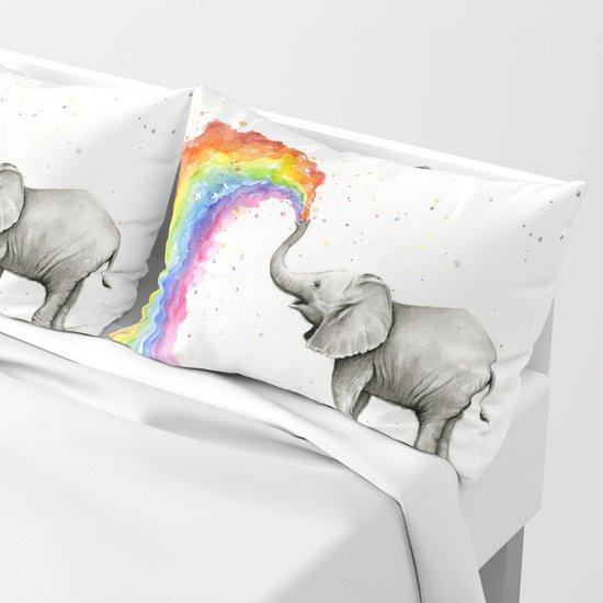Baby Elephant Spraying Rainbow by olechka