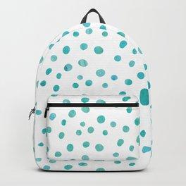 Small Blue Watercolor Abstract Polka Dots Backpack