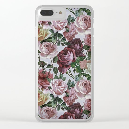 Vintage & Shabby-chic - retro floral roses pattern Clear iPhone Case