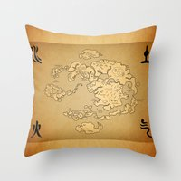 the last airbender Throw Pillows featuring Avatar Last Airbender Map by KewlZidane