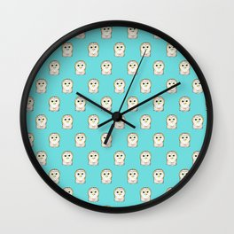 Cute Little Owls Pattern Teal Wall Clock
