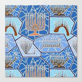 Hanukkah Menorah Mosaic in Dark Blues Canvas Print