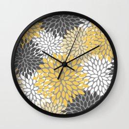 Modern Elegant Chic Floral Pattern, Soft Yellow, Gray, White Wall Clock