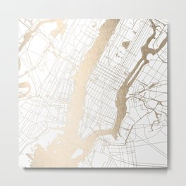 New York City White on Gold Metal Print