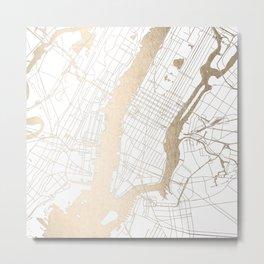 New York City White on Gold Metal Print