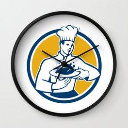 Chef Cook Serving Chicken Platter Circle Retro Wall Clock
