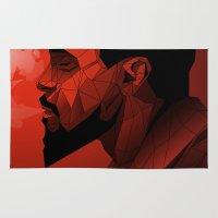 django Area & Throw Rugs featuring Django Low Poly | Alternative poster by Lorenzo Imperato