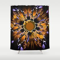 firefly Shower Curtains featuring Reflecting firefly by thea walstra
