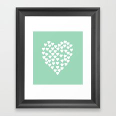 Hearts Heart White on Mint Framed Art Print
