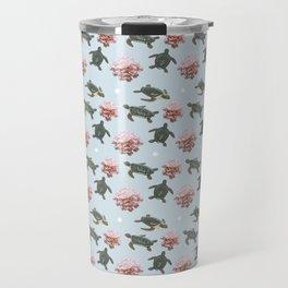 Turtles and Flowers Travel Mug