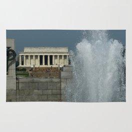 Memorial Fountain  And Lincoln Memorial Rug