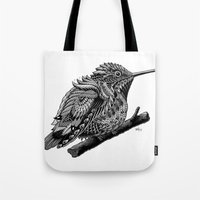 hummingbird Tote Bags featuring Hummingbird by BIOWORKZ