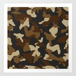 Brown army camo camouflage pattern Art Print