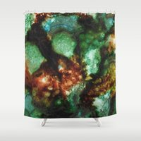 malachite Shower Curtains featuring Geode I, Malachite by Titania Designs