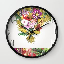 Parrot Floral Wall Clock