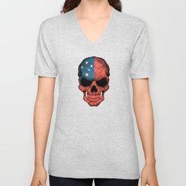 Dark Skull with Flag of Samoa Unisex V-Neck