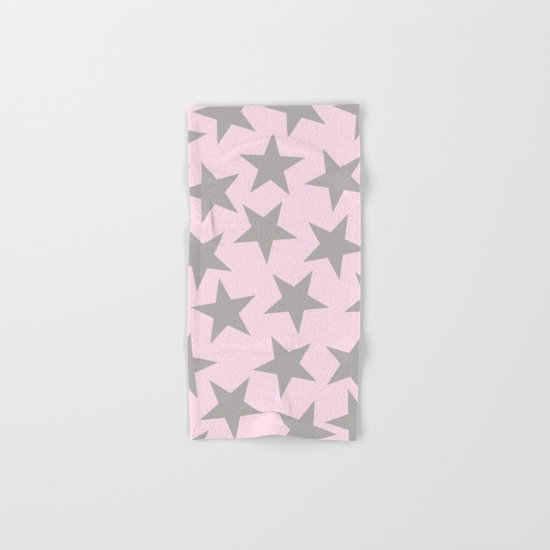 Grey stars on pink background pattern Hand & Bath Towel