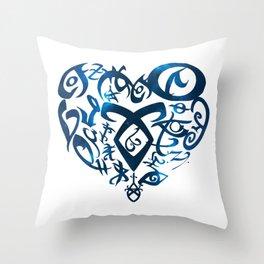 Shadowhunters rune - rune heart (blue galaxy) | Mundane | Parabatai | Alec, Izzy, Jace, Clary, Magnu Throw Pillow