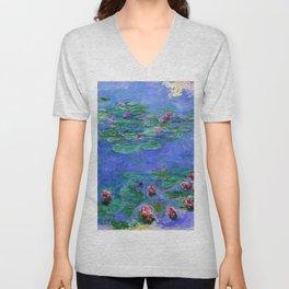 Claude Monet Waterlilies Red Unisex V-Neck