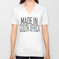 south africa V-neck T-shirts featuring Made In South Africa by VirgoSpice
