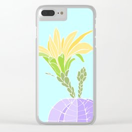 Yellow Flowered Blooming Cactus Clear iPhone Case